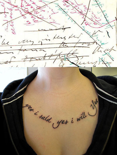 Ulysses manuscript and Molly Bloom tattoo