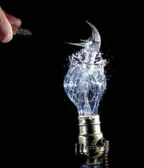 smashing a lightbulb extinguishing an idea